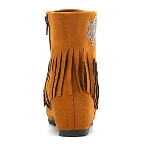 Cheville Frange Femmes Chaussures Bottes Compensées Coolcept Marron wFt5qAqn