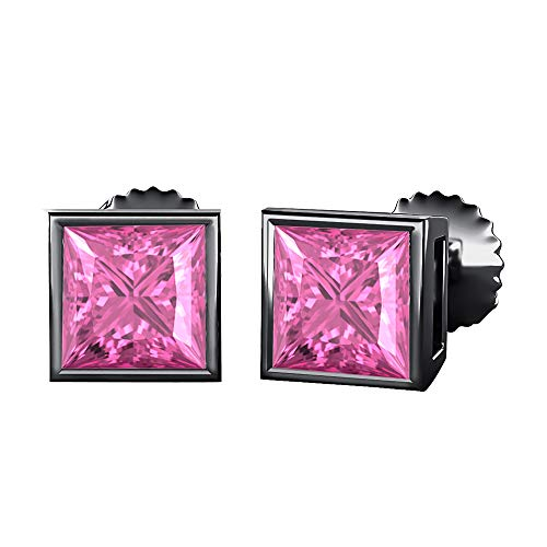 Bezel Set Princess Cut Created Pink Sapphire (10MM) Solitaire Stud Earrings 14K Black Gold Over .925 Sterling Silver