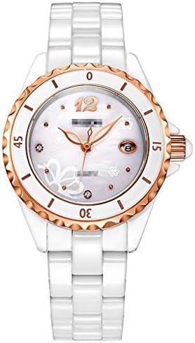 女性のホワイトセラミックリンクブレスレットクォーツ腕時計クリスタルバングル、ラグジュアリー女性の時計、フォールドオーバークラスプストラップ、ボーイフレンドギフト (色 : GOLD CASE)