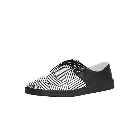 Men White Oxford Sneakers Pattern Black InterestPrint Fitness And Stripes Square Shoes Running wYEqOWgZx
