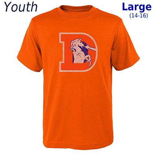 - Outerstuff Denver Broncos Youth NFL Distressed Vintage Logo Short Sleeve T-Shirt