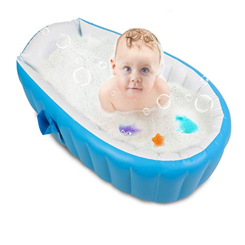 Seats Bathtub Infant - Baby Inflatable Bathtub, FLYMEI Portable Infant Toddler Non Slip Bathing Tub Travel Bathtub Mini Air Swimming Pool Kids Thick Foldable Shower Basin (Blue)
