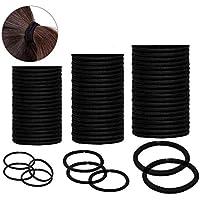 Cheveux Élastiques Cravates Cheveux Queues de Cheval Bandes de Cheveux en Vrac (Noir) 60 Pièces,Assortiment de 3 Tailles