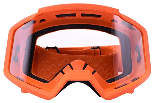 Typhoon Motocross Goggles Dirt Bike ATV Goggles Motorcycle Off Road Unisex Adult and Youth - Orange w/Clear ()