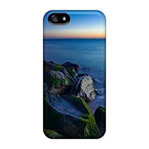 Fashion Tpu Case For Iphone 5/5s- Mossy Rocks On Beach At Sunset Defender Case Cover