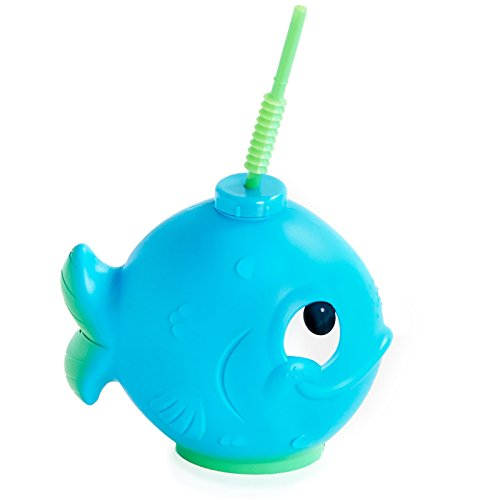 Under the Sea Ocean Childrens Birthday Party Supplies - Blue Whale Fish Plastic Sippy Cup with Straw