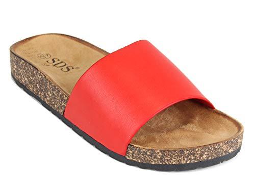 Frentree Damen Sandalen mit Metallschnalle Buckle | Bunte Pantoletten Zur Summer