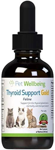 Pet Wellbeing Thyroid Support Gold for Cats - Natural Support for Thyroid Gland and Normal Calm Temperament in Felines - 4oz (59ml)