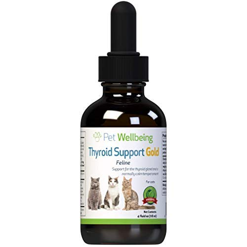 Pet Wellbeing Thyroid Support Gold for Cats - Natural Support for Thyroid Gland and Normal Calm Temperament in Felines - 4oz (59ml) by Pet Wellbeing