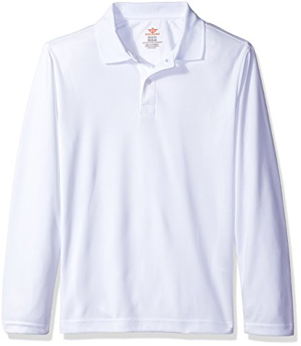 Dockers Little Boys' Uniform Long Sleeve Performance Polo, White, X-Large/7