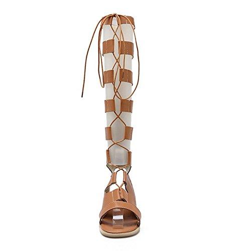 COOLCEPT Mujer Moda Cordones Sandalias Punta Abierta Plano Zapatos Amarillo