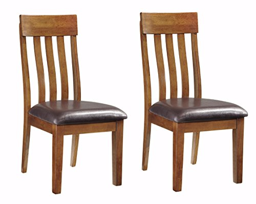 Ashley Furniture Signature Design - Ralene Upholstered Dining Side Chair - Rake Back Style - Set of 2 - Medium Brown