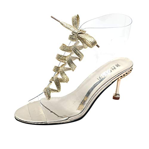 Women Clear Heels Sandals - Ladies Open Toe Lace Up Gladiator Lucite Kitten Pump Sandal - New Summer Fashion Wedding Dress Shoes