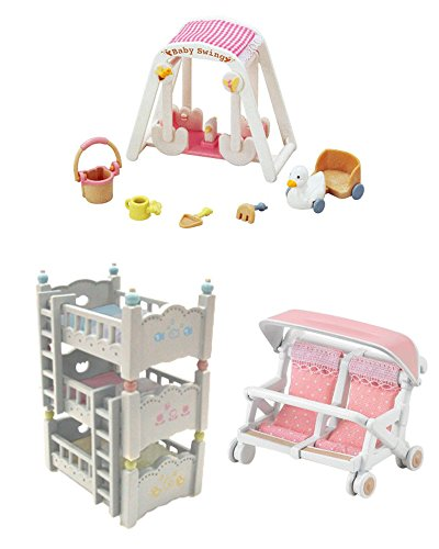 Bed and Play Sets - Triple Bunk Bed, Baby Swing & Double Baby Carriage - Three Sets (Japan Import)