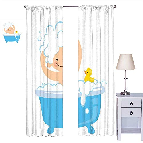 RenteriaDecor Nursery Blackout Curtain Baby Boy with Smiley Face Having Bubble Bath with Rubber Duck Kids Theme Art Curtain Panels White and Blue W72 x L108 -