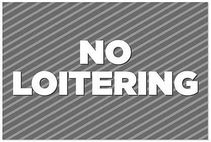 No Loitering 5-Pack Stripes Gray Window Cling 18x12 CGSignLab