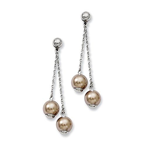 Stainless Steel Champagne Simulated Pearl Post Stud Drop Dangle Chandelier Earrings Fashion Jewelry Gifts For Women For Her