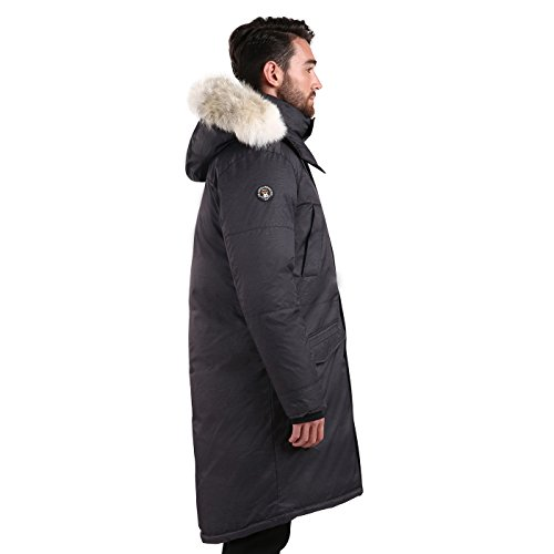 Triple F.A.T. Goose SAGA Collection | Eberly II Mens Hooded Goose Down Jacket Parka with Real Coyote Fur (2XL, Charcoal) by Triple F.A.T. Goose (Image #4)