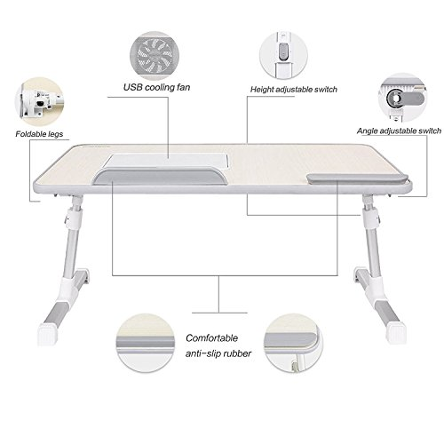 Desk Fan Dimensions : Laptop bed tray table nearpow adjustable stand