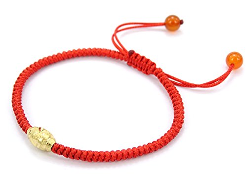 jennysun2010 1 Bead (The Lucky One) Handmade Lucky Happy Wealthy Healthy Braided Red Rope 24K Gold Vacuum Plated Beads Red Agate Gemstone Adjustable Bracelet