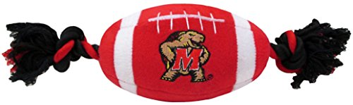 NCAA Maryland Terrapins Pet Football Rope Toy, 6-Inch Long Plush Dog Toy with Inner Squeaker