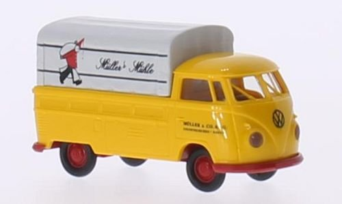 Price comparison product image VW T1b flatbed platform trailer,  Müllers Mühle,  Model Car,  Ready-made