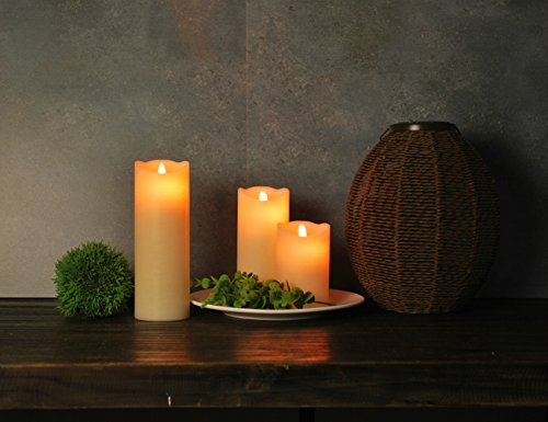 - MATTI Flameless Candles Ivory Real Wax Pillars LED Candles with Realistic LED Flames and Remote Moving Wick Flickering Light 4