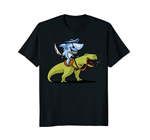 Mens Shark Pirate Riding A T-Rex Dinosaur Funny T-Shirt XL - Cartoon Black Male Characters