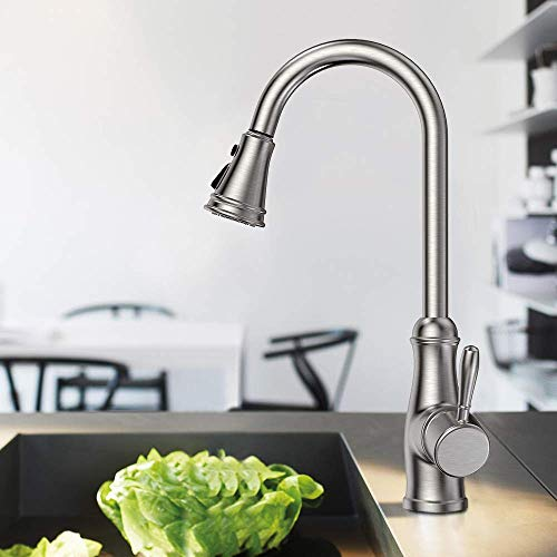 Single Handle Kitchen Sink Faucet, Guukar Single Lever High Arc Stainless Steel Kitchen Faucets with Pull Down Sprayer, Brushed Nickel