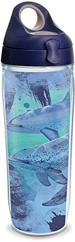 Tervis 1316316 Guy Harvey - Mirage Dolphins Insulated Tumbler with Wrap and Lid, 24 oz Water Bottle - Tritan, Clear