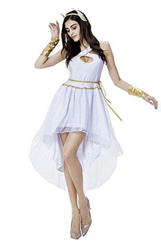Women's White Greek Goddess Costumes Princess Cosplay Halloween Fancy (White Greek Dress)
