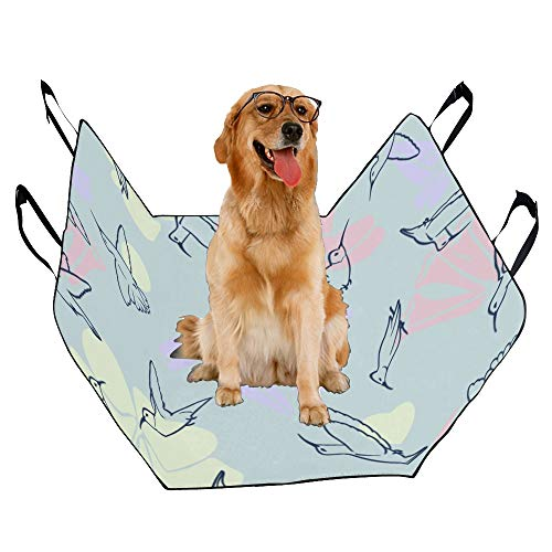 XINGCHENSS Fashion Oxford Pet Car Seat Hummingbird Animal Flying Spring Vintage Color Embroidery Waterproof Nonslip Canine Pet Dog Bed Hammock Convertible for Cars Trucks SUV