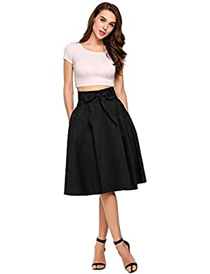 Zeagoo Women's A Line Vintage Stretched Midi Skirt with Belt with Decorated Pocket