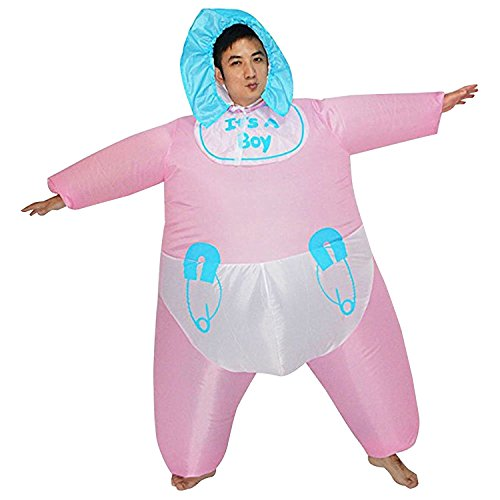 Adult Funny Pretend Play Infant Baby Diaper Inflatable Costume Cosplay Party Fancy Dress Suit (Style-1)