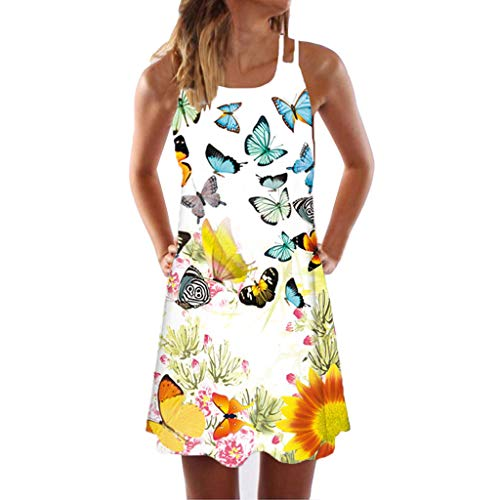 Sunhusing Womens Sling Off-Shoulder Flower Print Tank Top Dress Sleeveless Mini A-Line Beach Sundress Yellow