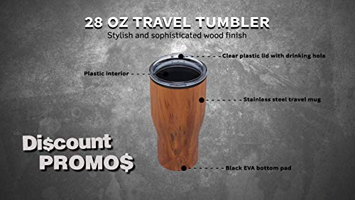 Challenger Travel Mug Tumbler With Wood Style Finish 28 Oz. - 10 pack - Simple Insulated Double Walled Tumblers That Keep Your Drink Hot Or Cold For Hours - Wood