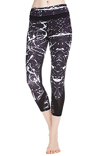 Stretch Mesh Tights (icyzone Women's Activewear Workout Capri Stretch Printed Sports Running Yoga Tights Legging With Mesh (L, Crack))