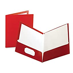 Laminated Portfolio, 2-Pocket, 11 quot;x8-1/2 quot;, Crimson