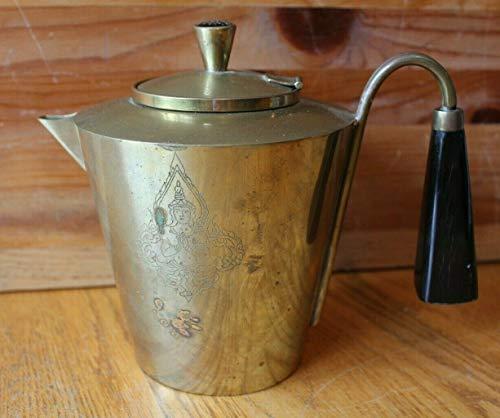 Brass Tea pot Vintage Buddha engraving Antique stove top coffee kettle Asian