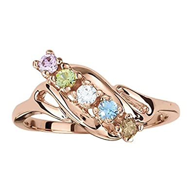 Amazon mothers ring 2 3 4 or 5 birthstones 10k white or amazon mothers ring 2 3 4 or 5 birthstones 10k white or yellow or rose gold jewelry aloadofball Image collections
