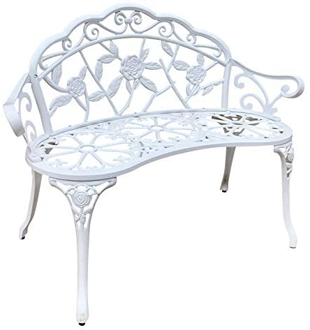 Jardin de panda Garden Bench, Metal Park Bench Cast-Aluminum Outdoor Benches Front Porch Outdoor Furniture with Floral Rose for Patio, Park, Lawn, Yard(White)