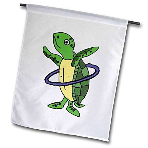 (3dRose All Smiles Art Animals - Funny Cool Sea Turtle Playing Hula Hoop Beach Cartoon - 18 x 27 inch Garden Flag (fl_287949_2) )