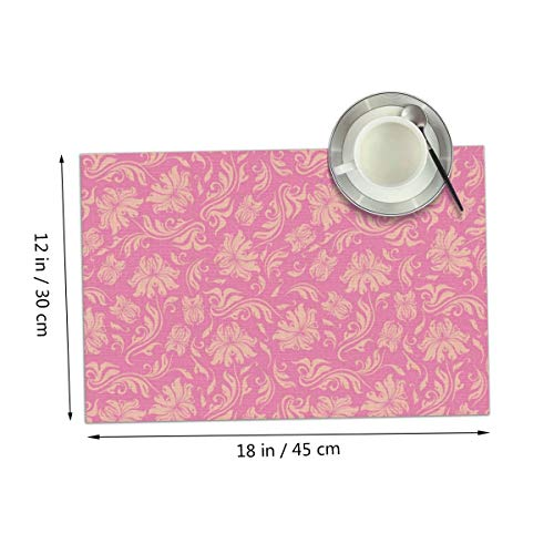 Carmen Belinda Pink Background Placemats Set of 4 for Dining Table Washable Place Mats for Kitchen/Dinning Table, Home Table Decor Non-Slip Heat Resistant, 12x18 Inches ()