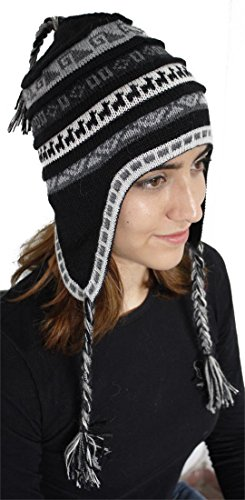 Chullo Ski Hat - Superfine 100% Alpaca Wool Handmade Intarsia Chullo Ski Hat Beanie Aviator Winter (Black/Gray)