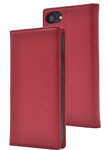 PLATA iPhone6/iPhone6s/iPhone7/iPhone8 ケース 手帳型 ラム シープスキン 羊革 本革 レザー カバー アイフォン 6 6s 7 8 【 レッド 赤 あか red 】