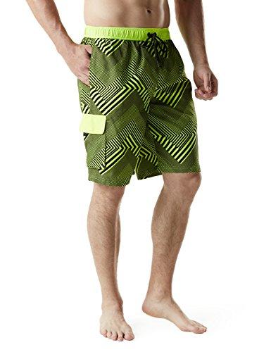 TSLA Men's 11 Inches Swimtrunks Quick Dry Water Beach, Graphic(msb03) - Zigzag Neon Yellow, Medium (Swimming Trunks And Rash Guard)