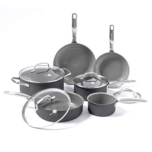 GreenPan Chatham Healthy Ceramic Nonstick, Cookware Pots and Pans Set, 10 Piece, Gray