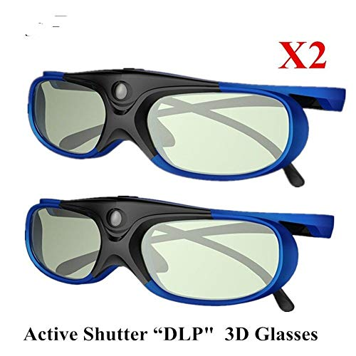 DADANDAN 2pcs Active Shutter Rechargeable 3D DLP Glasses Support 144HZ for Xgimi Z3/Z4/Z6/H1/H2 Nuts G1/P2 BenQ Acer &DLP Link Projector (Color : Jimi-Blue-2) ()