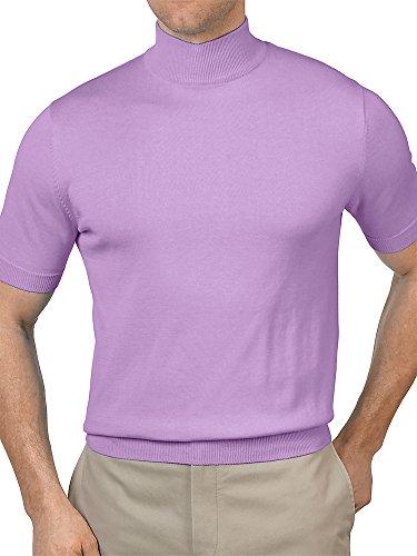 Paul Fredrick Men's Pima Cotton Mock Neck Short Sleeve Sweater Lilac Large