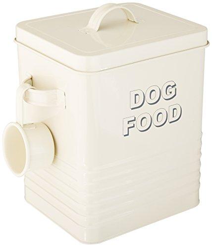 The Leonardo Collection LP22217 Sweet Home Dog Food Storage Tin with Scoop, Cream